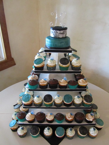 Jade/Peacock Wedding Cupcake Tower