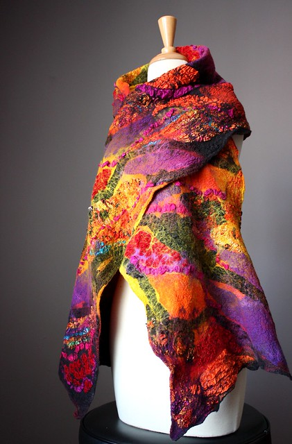 Nuno felted shawl / wrap / scarf wool silk