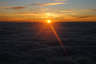 Sun Rises above Clouds seen from Fuji Summit