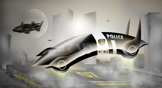 police hover car a american styled hover car from the futu flickr photo sharing. Black Bedroom Furniture Sets. Home Design Ideas