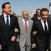 Libya visit - PM with President Sarkozy and Chairman Mustafa Abdul Jalil