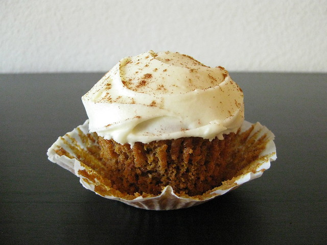 Pumpkin Spice Cupcakes with White Chocolate-Sour Cream Frosting