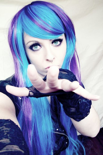 blue purple emo scene alternative hair style german girl site model bibi barbaric