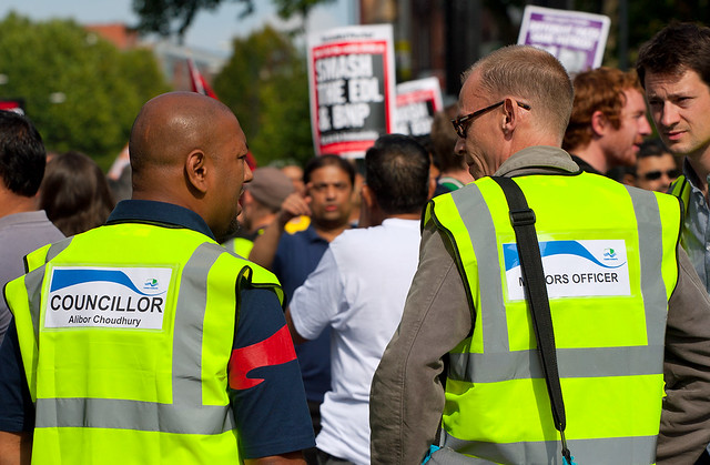 Councillor Alibor Choudhury at the Anti-EDL Protests, London, September 2011