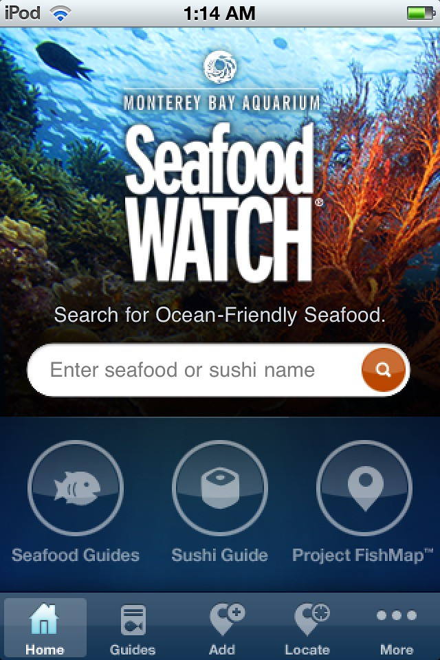 Seafood Watch List Home Screen