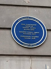 Photo of First Experimental system of Traffic Lights in England blue plaque