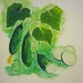 Velvety Cucumber Soup food painting for the vegetarian recipes cookbook by Australian artist Fiona Morgan