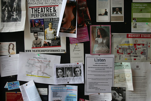 Cafe noticeboard in The Studios in Holloway