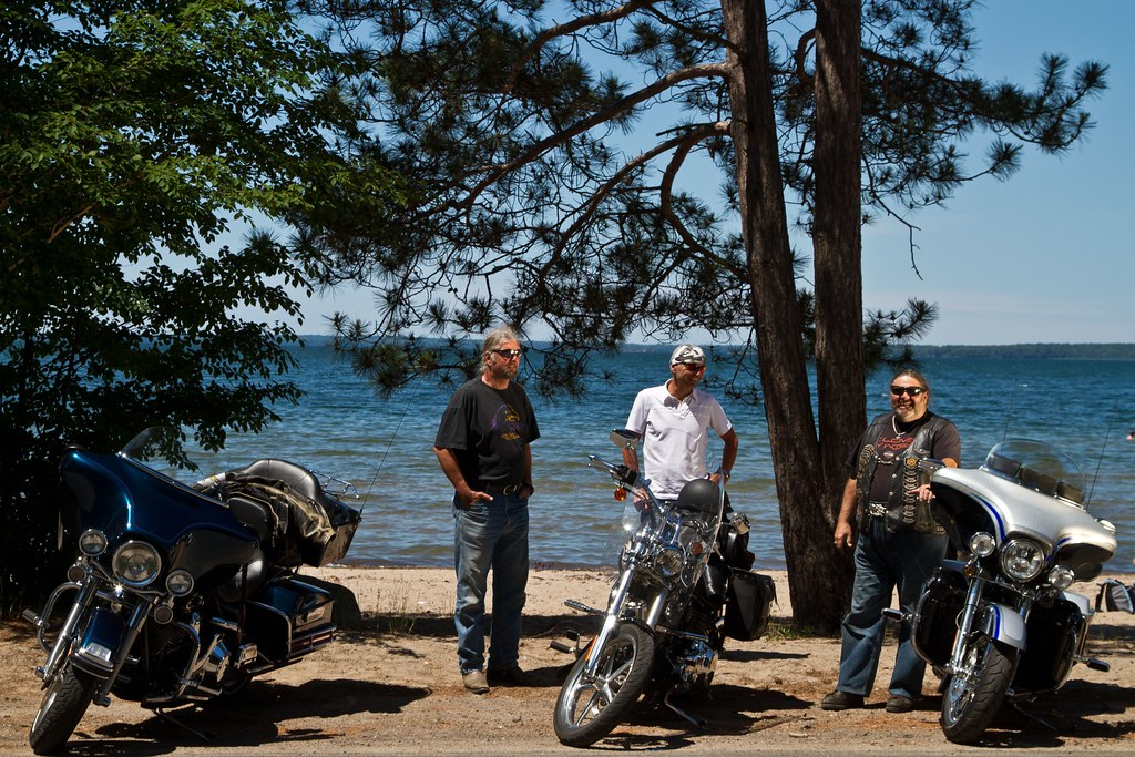 Picture of motorcycle riders by Lake Huron