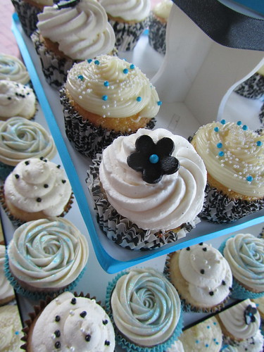 Aqua, Black, and White Cupcakes