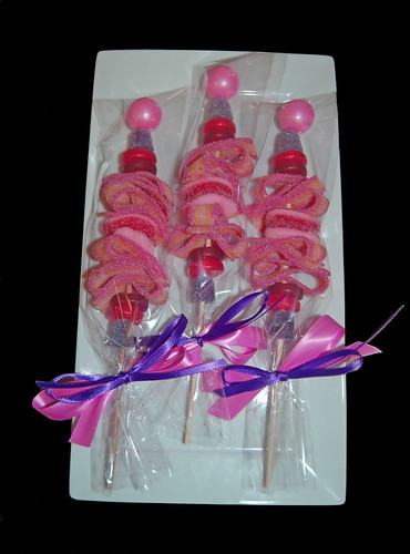 pink and purple birthday party favor candy kabobs