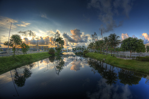 morning bridge blue sky reflection water clouds sunrise dawn canal day florida cloudy miami steel fisheye springs 8mm structural okeechobee hialeah rokinon