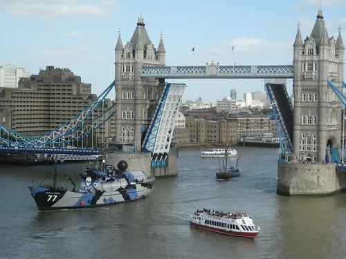 Sea Shepherd passing under Tower Bridge, London