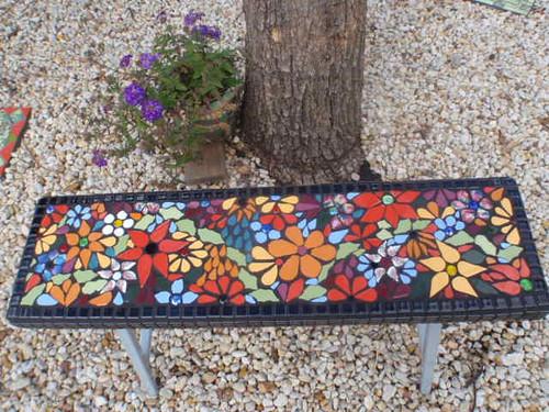 Mosaic bench seat
