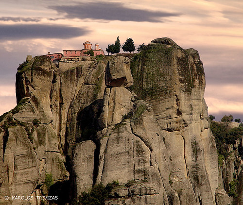 sunset cliff church nature rock stone arch stonework peak monk nun belltower steeple greece monastery summit monolith cells meteora trikala kalabaka thessaly digitalcameraclub geologicalphenomenon bestcapturesaoi
