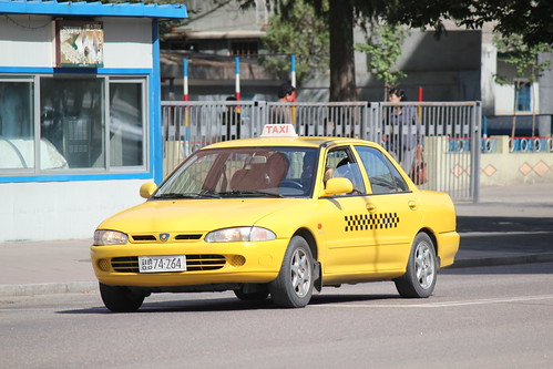 Yellow Cab in Pyongyang North Korea