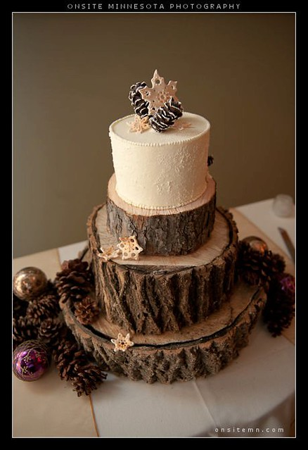 Winter wedding cake with edible snowflakes & pine cones | Flickr ...