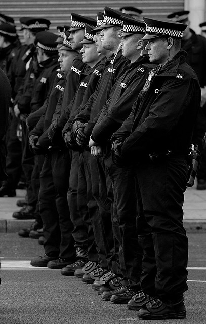 Police lines at the Anti-EDL Protests, London, September 2011