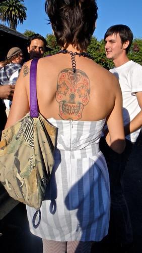 Blood Pudding Tattoo Red & black skull tattoo