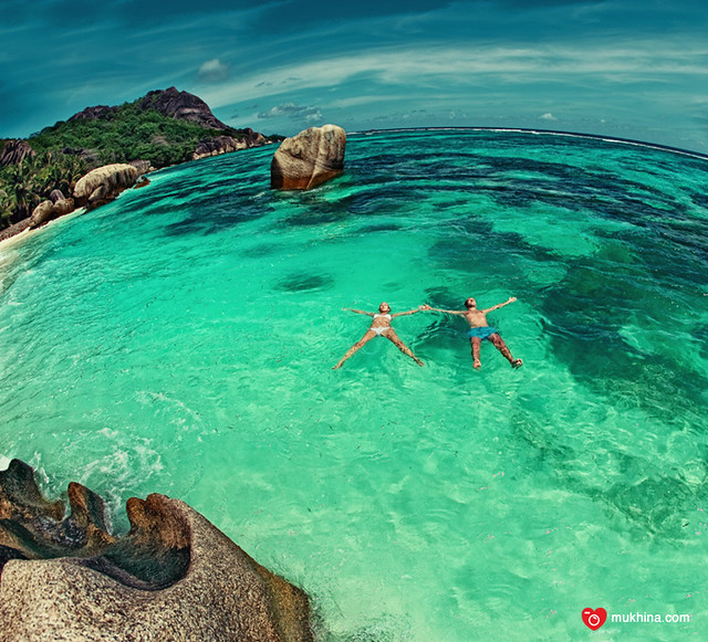 ladigue island  at seychelles - honeymoon