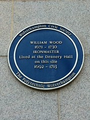Photo of William Wood blue plaque