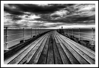 Whitby Pier Monochrome