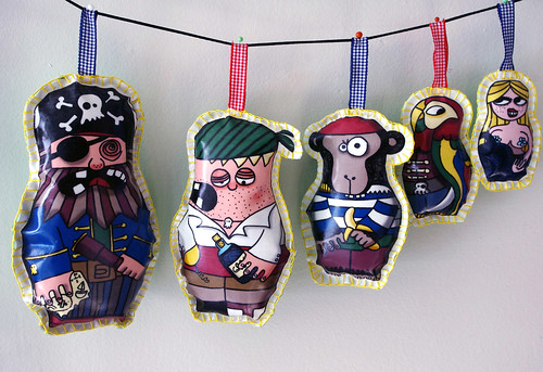 Pirate stuffed wall art garland