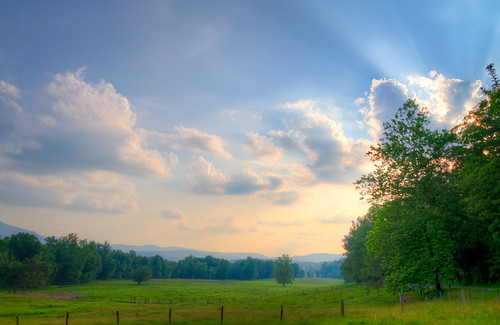 park sunset mountain field cove tennessee national pasture smoky hdr cades