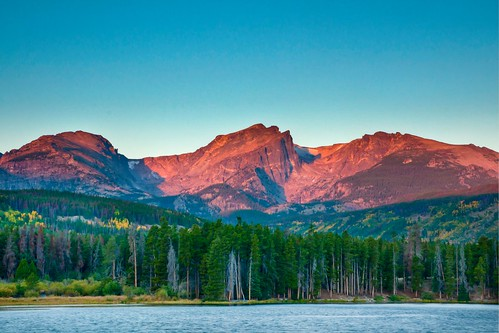 park mountain lake sunrise glow sony rocky alpine national hdr photomatix a700 sprauge