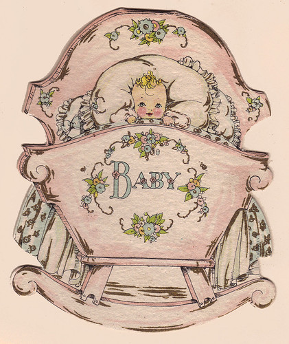 Cradle shaped baby card