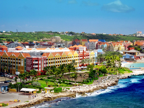 cruise blue houses water colorful curacao caribbean