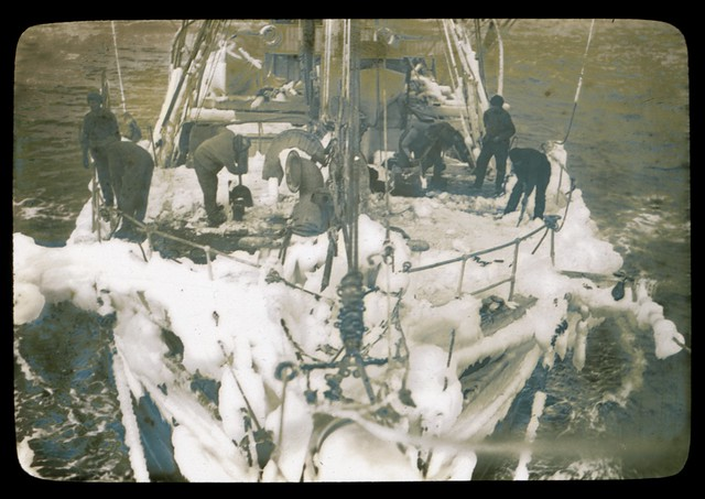 "The fo'c'stle head of the ""Aurora"" sheathed with ice after a blizzard in Commonwealth Bay [Australasian Antarctic Expedition,  1911-1914] [1]"