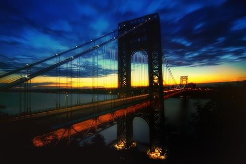 nyc newyorkcity longexposure morning bridge light newyork clouds sunrise geotagged dawn newjersey traffic manhattan nj hudsonriver gothamist georgewashington hdr gwb fortlee georgewashingtonbridge washingtonheights lighttrail mudpig stevekelley stevenkelley