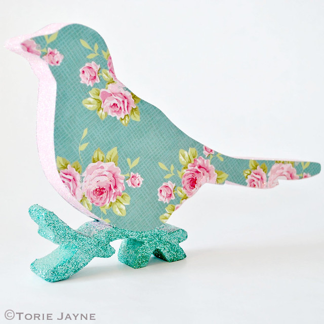 Glittered floral print Christmas bird