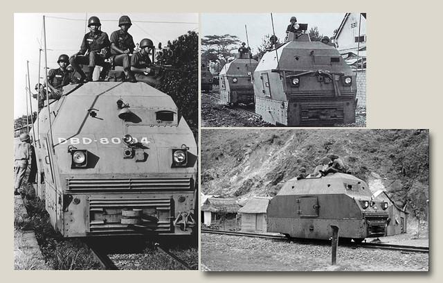 các toa xe bọc thép rà phá mìn trên tuyến đường sắt Nam VN