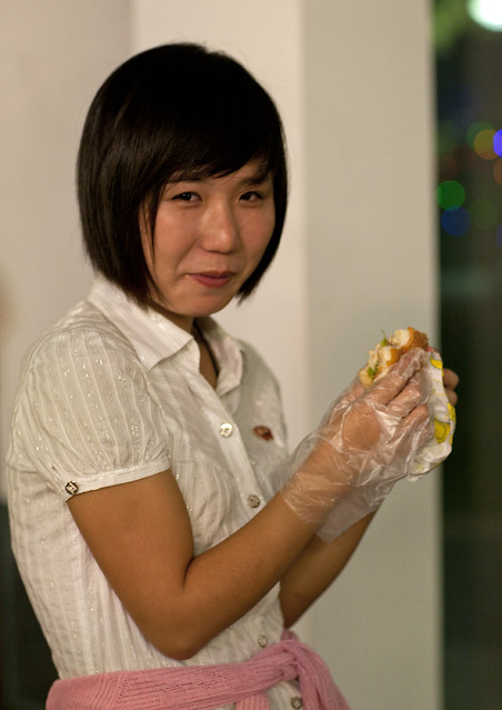 Hamburger with gloves in Pyongyang - North Korea
