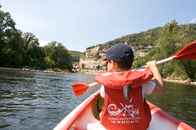 Canoeing on the river Dordogne