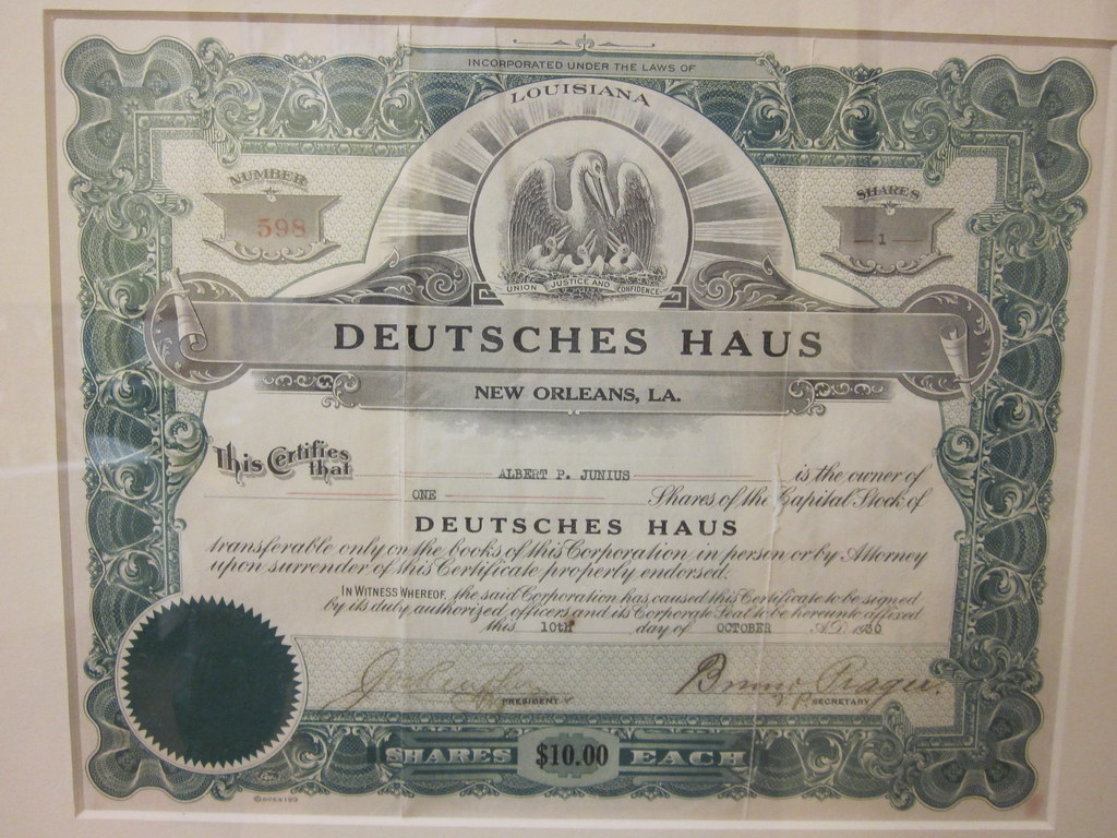 metairie deutsches haus certificate 1930 the new orleans d flickr photo sharing. Black Bedroom Furniture Sets. Home Design Ideas