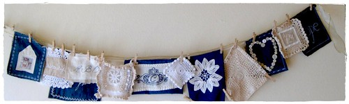 denim and crochet garland almost ready to list in shop