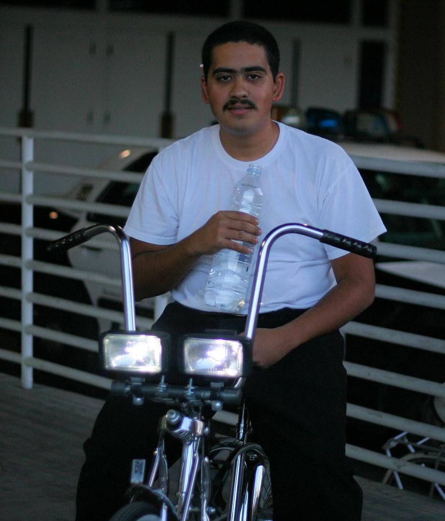 Car headlights on bike