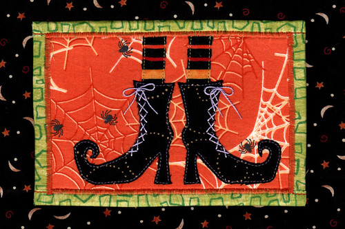Witch Boots Fabric Postcard