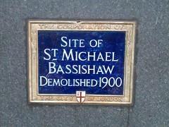 Photo of St Michael Bassishaw blue plaque