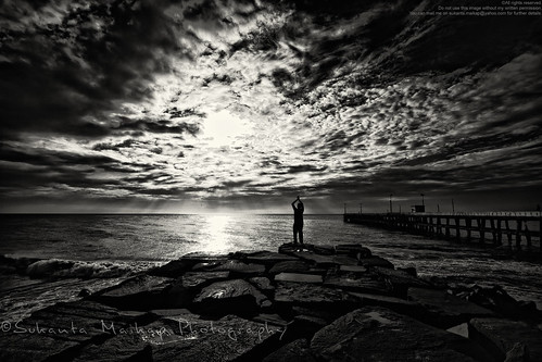 blackandwhite bw cloud india yoga skyline sunrise coast pier twilight alone jetty earlymorning wave bluesky boulder quay seashore pondicherry beachroad ontheedge seabeach canonefs1022mmf3545usm puducherry canon450d morningyoga enjoyingview givetimeabreak enjoyingsunrise boulderplatform