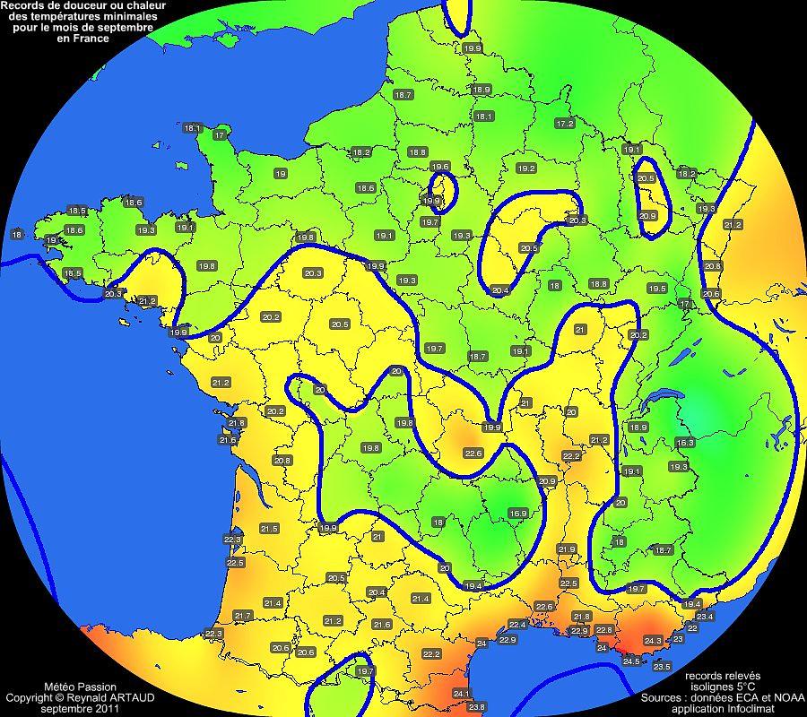 records de douceur ou chaleur des températures minimales pour le mois de septembre en France Reynald ARTAUD météopassion