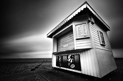 longexposure blackandwhite beach sussex mono nikon moody dynamic dramatic sigma icecream shutter eastbourne kiosk seafront 1020 eastsussex nd110 coastuk d300s