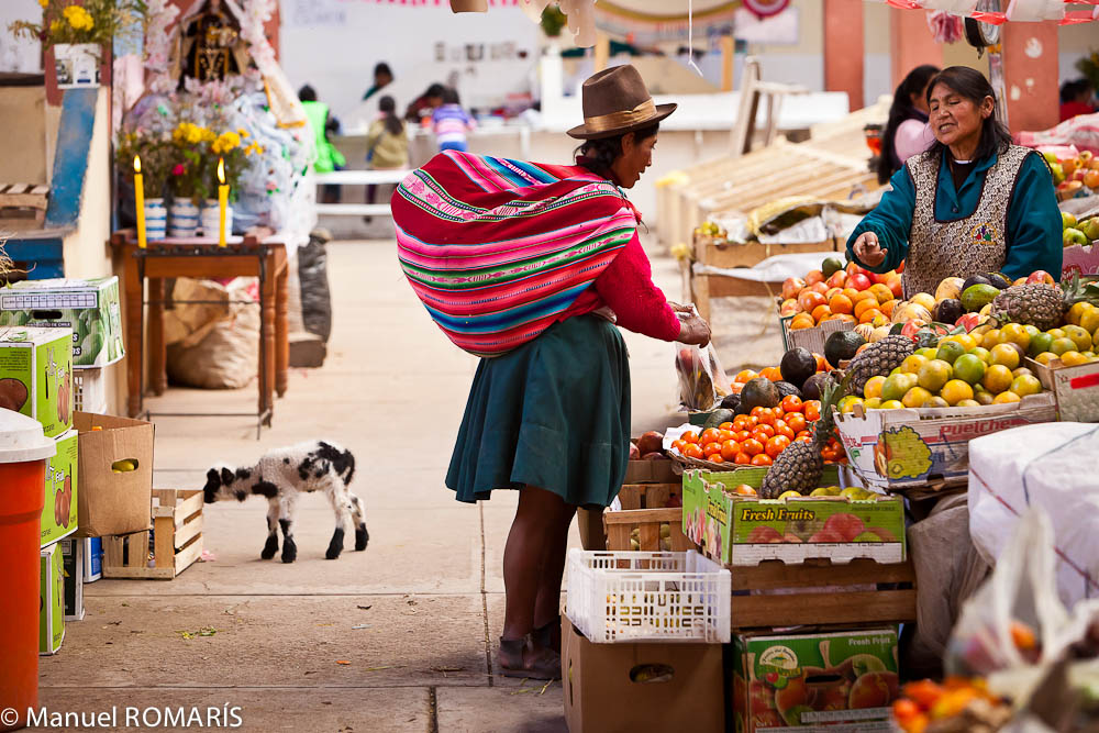 Cuzco, Peru, outdoor market, buying fruit