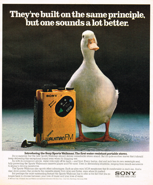 Vintage Ad #1,667: Which Sounds Better - A Sony Walkman or a Duck?