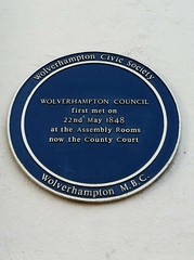 Photo of Wolverhampton Council and Assembly Rooms, Wolverhampton  blue plaque