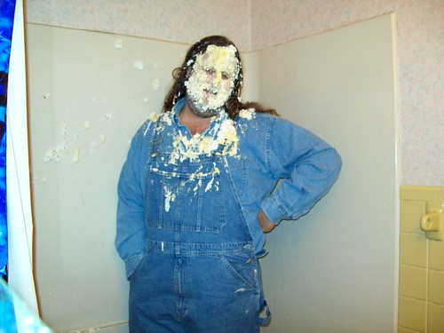 Pie in the face: Happy Birthday to Me! V: Double Denim and pies in my face