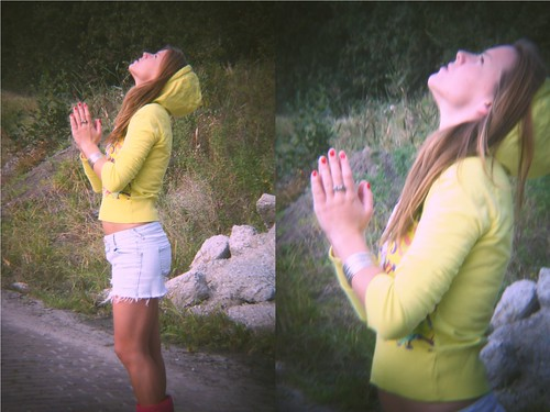 girl in yellow hoodie, praying for the hope, praying for peace, praying for the dreams come true